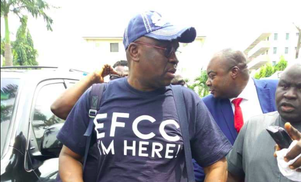 'EFCC I'm here,' Fayose wears customised  shirt to EFCC office